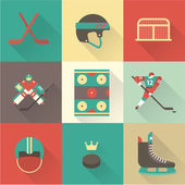 Hockey sport icons — Stock Vector