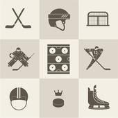 Hockey sport icons — Vettoriale Stock