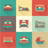 Vector bed icon set — Stock Vector
