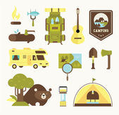 Camping vector icons — Stock Vector
