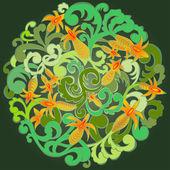 Green circular pattern. — Stock Vector