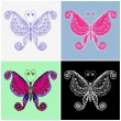 Stock Vector: Vintage set of butterflies.
