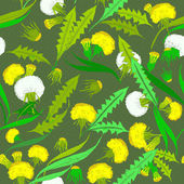 Seamless vintage of dandelions. — Stockvector