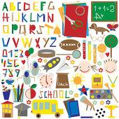 Escuela fijar, corte de papel de colores y pegados con cinta. — Vector de stock