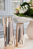 Silver Pots with bouquet of flowers — Stock Photo