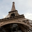 Eiffel Tower on a rainy cloudy autumn day — Foto Stock