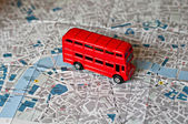 The iconic red bus miniature — Stock Photo