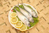 Fresh uncooked Mackerel with Lemon and salad on bamboo mat — Stock Photo