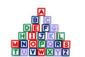Colorful alphabets block words cube — Stock Photo