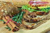 Sandwich with salad — Stock Photo