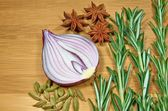 Onion with rosemary — Stock Photo