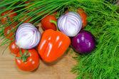 Sliced onion, paprika and tomatoed — Stock Photo