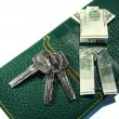 Royalty-Free Stock Photo: Dollar origami with keys and wallet isolated