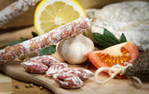 French salami assorted with garlic — Stock Photo