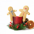 Two happy gingerbread men isolated — Stock Photo
