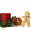 Gingerbread man with New Year's decoration — Stock Photo