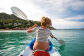 Girl in the boat — Stock Photo