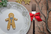 Gingerbread man on the plate for Christmas — Stock Photo