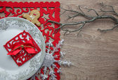 New Year's and Christmas table serving — Stock Photo