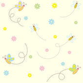 Seamless pattern with cute insects and flowers — Stock Vector
