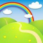 paisaje de verano hermoso arco iris — Vector de stock