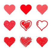 Vector hearts set. Hand drawn. — 图库矢量图片