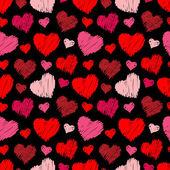 Patrón de corazones inconsútil — Vector de stock