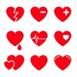 Hearts Vector Icon Set — Stock Vector