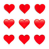 Red Vector Hearts, Isolated On White Background — Stock Vector
