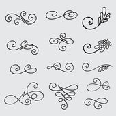 Vector set of calligraphic elements for design — Stock Vector