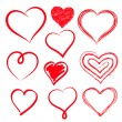 Vector hearts set. Hand drawn. — Stock Vector