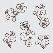 Vector set of flower elements — Stock Vector