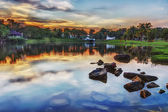 Lake Park Inside University Technology Malaysia in Sunset — Stock Photo