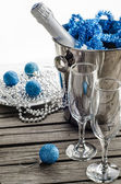 Champagne and wine glasses in the New Year — Stock Photo