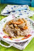 Wheat porridge with stewed meat — Stock Photo