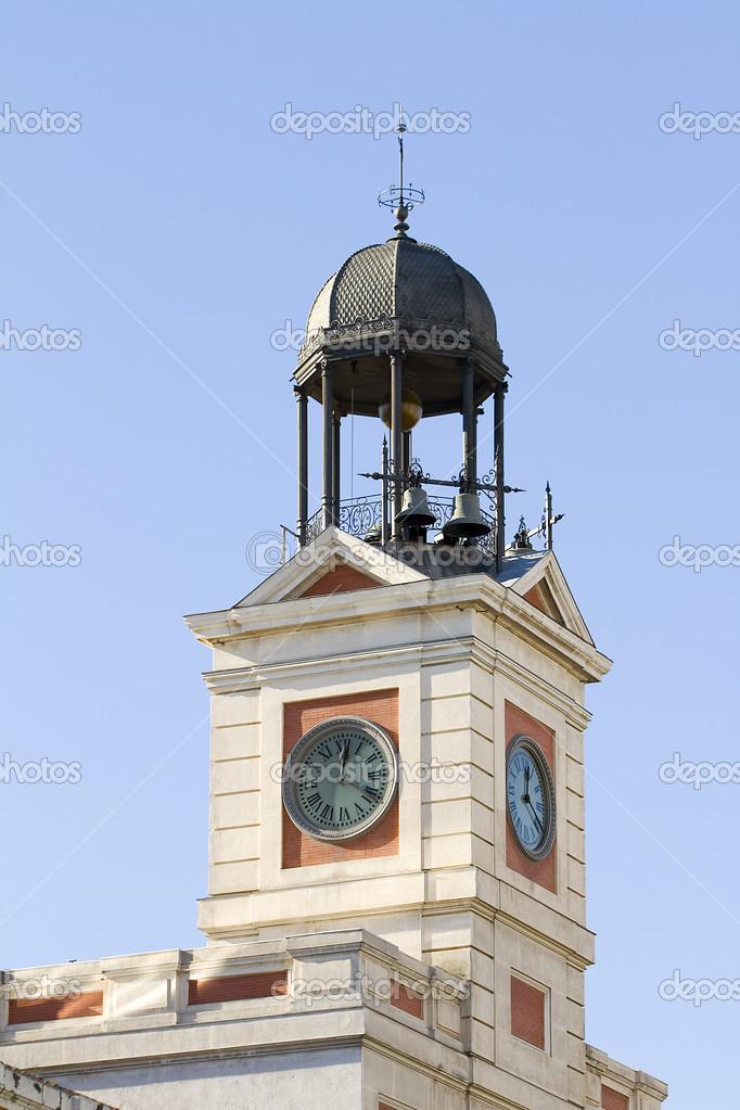 Clock tower of real casa de correos madrid stock for Real casa de correos madrid