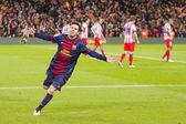 Lionel Messi celebrating a goal — Stock Photo