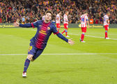 Lionel Messi celebrating a goal — Stock Photo