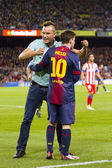 Messi and spontaneous supporter — Stock Photo