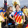 Stock Photo: Catalans made 400 km independence humchain