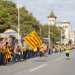 Catalans made a 400 km independence human chain — Stock Photo