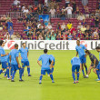 FC Barcelona warm-up — Stok fotoğraf