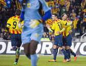 Catalan players celebrating a goal — Stock Photo