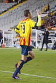 Catalan player celebrating a goal — Stock Photo