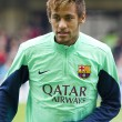 Neymar at FC Barcelona training session — Stock Photo