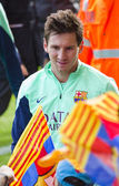 Messi at FC Barcelona training session — Stock Photo