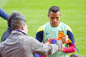 Alexis at FC Barcelona training session — Stock Photo