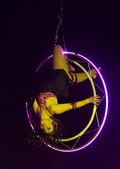 Acrobat woman at circus spectacle — Stock Photo