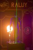 Acrobat at circus spectacle — Stock Photo