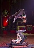 Acrobat women at circus spectacle — Stock Photo